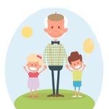 Tempo de lazer feliz dos povos superiores com neta Avô feliz com neta e o neto pequenos Ilustração do vetor ilustração royalty free