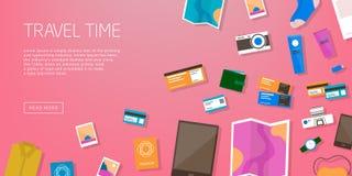 Tempo de viagem Bandeira horizontal da propaganda no curso do tema, férias Preparação para a viagem Contexto cor-de-rosa com cois ilustração do vetor