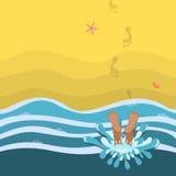 Tempo del bagno Seashell del pettine sul colore rosa Illustrazione Vettoriale