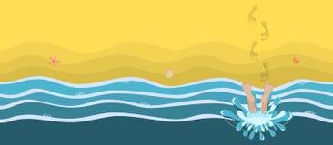 Tempo del bagno Seashell del pettine sul colore rosa Ampia versione Illustrazione di Stock