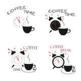 Tempo del caffè Elementi di progettazione dell'illustrazione di vettore Immagine Stock Libera da Diritti