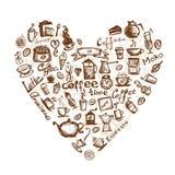 Tempo del caffè, figura del cuore per il vostro disegno Fotografia Stock