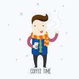 Tempo del caffè nell'inverno Fotografia Stock Libera da Diritti