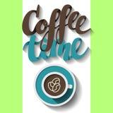 Tempo del caffè, segnante calligrafia con lettere Illustrazione di vettore Immagine Stock Libera da Diritti