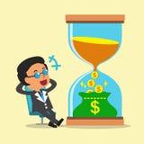 Tempo del convertito di concetto di affari a soldi con l'uomo d'affari Immagini Stock Libere da Diritti