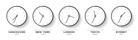 Tempo del mondo Icone semplici dell'orologio nello stile piano Vancouver, New York, Londra, Tokyo, Sydney Orologio nero su fondo  illustrazione vettoriale