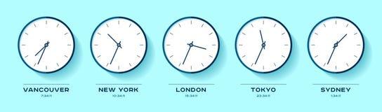 Tempo del mondo Icone semplici dell'orologio nello stile piano Vancouver, New York, Londra, Tokyo, Sydney Orologio sul fondo di c illustrazione vettoriale