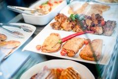 Tempo del pranzo dell'esposizione dell'alimento Fotografie Stock