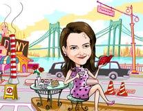 tempo del tè della ragazza a Manhattan New York City Immagine Stock