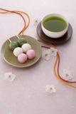Tempo del tè della sorgente giapponese Immagine Stock Libera da Diritti