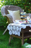 Tempo del tè con gli scones, l'ostruzione e la doppia crema Fotografia Stock