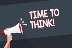 Tempo del testo di scrittura di parola di pensare Concetto di affari per le idee di pensiero di pianificazione che rispondono all illustrazione di stock