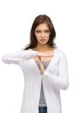 Tempo della donna fuori che gesturing Fotografie Stock