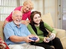 Tempo della famiglia con i nonni Fotografia Stock Libera da Diritti