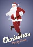 Tempo della festa di Natale: Dancing divertente di Santa Claus Immagini Stock Libere da Diritti