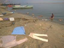 Tempo della lavanderia a Varanasi Immagini Stock Libere da Diritti