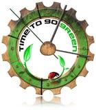 Tempo di andare verde - ingranaggio di legno illustrazione di stock