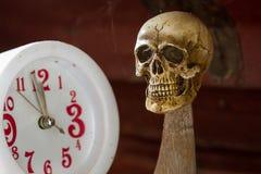 Tempo di attesa del cranio sul tono dell'annata dell'orologio Fotografia Stock