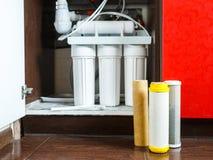 ? tempo di cambiare i filtri da acqua a casa Sostituisca i filtri nel sistema di purificazione dell'acqua Una vista alta vicina d immagini stock libere da diritti