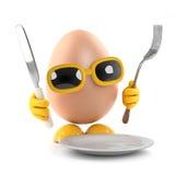 tempo di cena dell'uovo 3d Immagine Stock Libera da Diritti