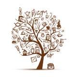 Tempo di Cofee. Albero di arte per il vostro disegno Immagini Stock Libere da Diritti