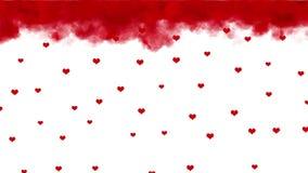 Tempo di giorno di biglietti di S. Valentino Pioggia dei cuori stock footage