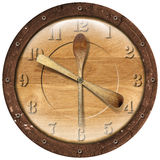 Tempo di legno del pranzo dell'orologio Fotografie Stock Libere da Diritti