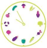 Tempo di mangiare alimento sano: isolato su bianco Fotografia Stock