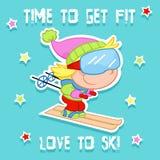 Tempo di ottenere misura - bambini e sport invernali - corsa con gli sci Immagine Stock