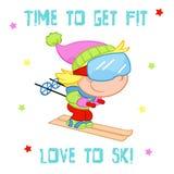 Tempo di ottenere misura - bambini e sport invernali - corsa con gli sci - illustrazione sveglia sui precedenti bianchi Fotografie Stock