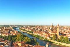 Tempo di paesaggio urbano di Verona di mattina Immagini Stock