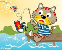 Tempo di pesca del gatto Fotografia Stock