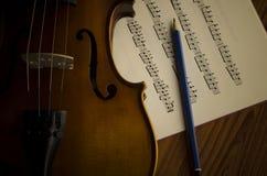 Tempo di praticare violino Immagini Stock