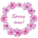 Tempo di primavera della struttura del cerchio dell'acquerello illustrazione di stock