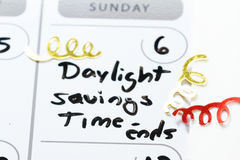 Tempo di risparmio di luce del giorno - estremità Immagini Stock