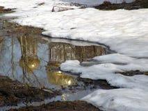 Tempo di scioglimento della sorgente in Russia Immagine Stock