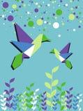 Tempo di sorgente delle coppie del colibrì di Origami Immagine Stock Libera da Diritti