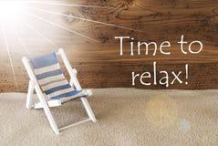 Tempo di Sunny Greeting Card And Text di estate di rilassarsi Immagine Stock Libera da Diritti