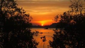 Tempo di tramonto della spiaggia in Tailandia Immagini Stock Libere da Diritti