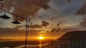 Tempo di tramonto nella vista del Mekong, Vientiane, Laos immagini stock libere da diritti