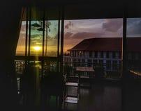 Tempo di tramonto nella vista del Mekong, Vientiane, Laos immagini stock