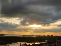 Tempo di tramonto nella vista del Mekong, Vientiane, Laos fotografia stock libera da diritti