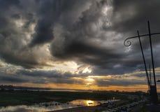 Tempo di tramonto nella vista del Mekong, Vientiane, Laos fotografie stock libere da diritti