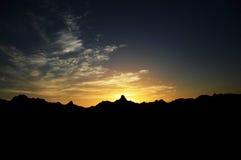 Tempo di tramonto nelle montagne Fotografia Stock Libera da Diritti