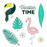 Tempo di vacanza, insieme tropicale royalty illustrazione gratis