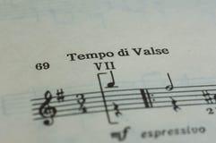 Tempo di Valse i en musikbok Fotografering för Bildbyråer