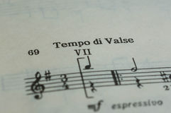 Tempo di Valse in a music book. Close up Stock Image