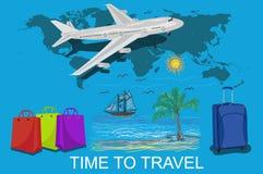 Tempo di viaggiare e concetto di vocazione, illustrazione di vettore Fotografia Stock