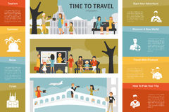 Tempo di viaggiare illustrazione piana infographic di vettore Concetto di presentazione Fotografie Stock Libere da Diritti