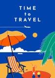 Tempo di viaggiare manifesto Insegna di estate con la spiaggia ed il mare Illustrazione piana di vettore royalty illustrazione gratis